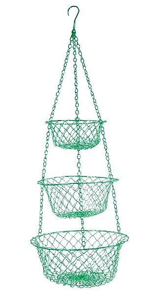 Fox Run 52103 Three Tier Hanging Wire Baskets, Green