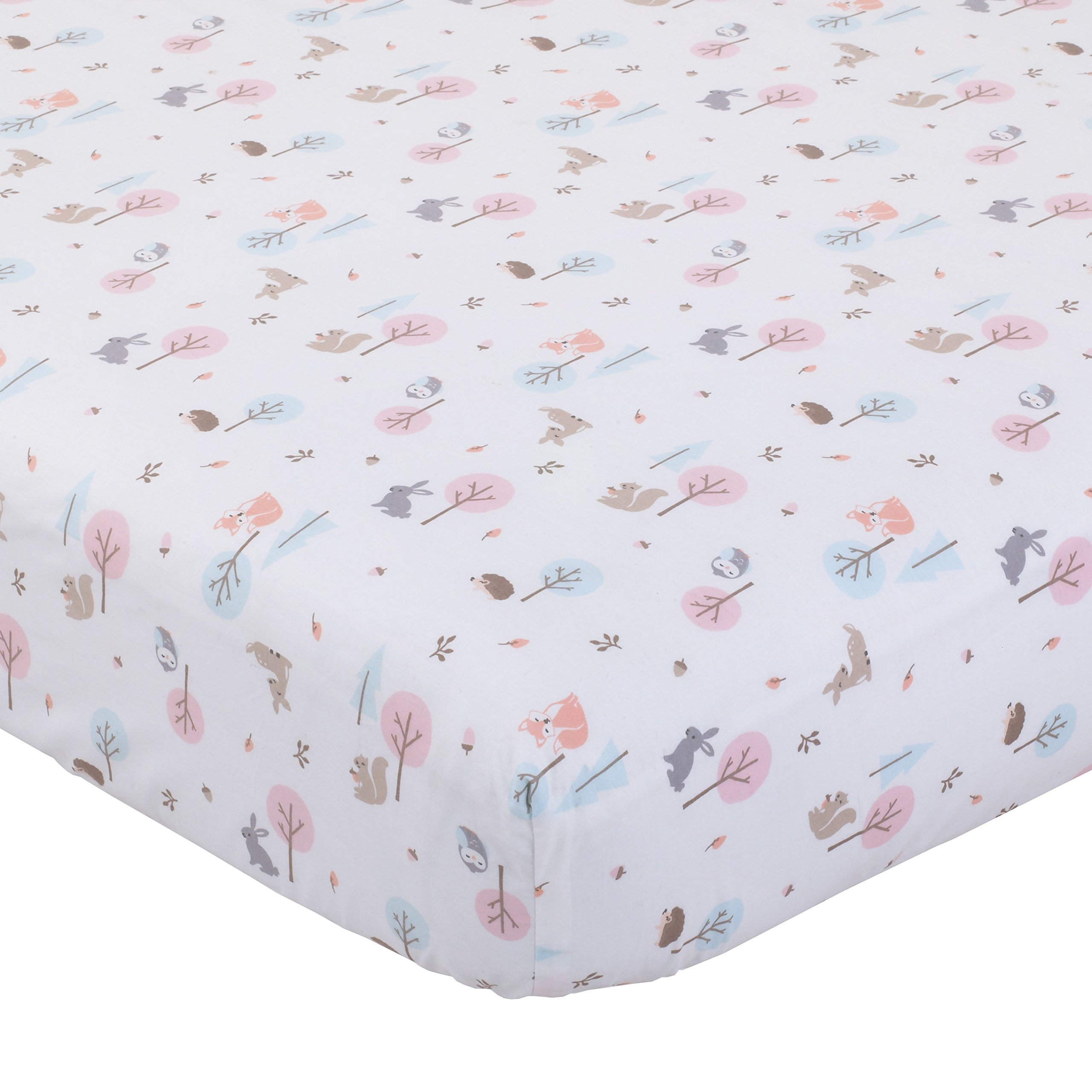 Ln Beautiful Girls White Pink Brown Woodland Friends Fitted Crib Sheet, Animal Themed Nursery Bedding, Infant Child Toddler Bunny Squirrel Forest Fox Owl Nature Meadow Woods Cute Adorable, Cotton by Ln (Image #1)