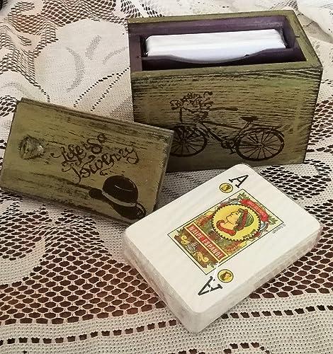 Caja para baraja de cartas decorado a mano y pieza única ...