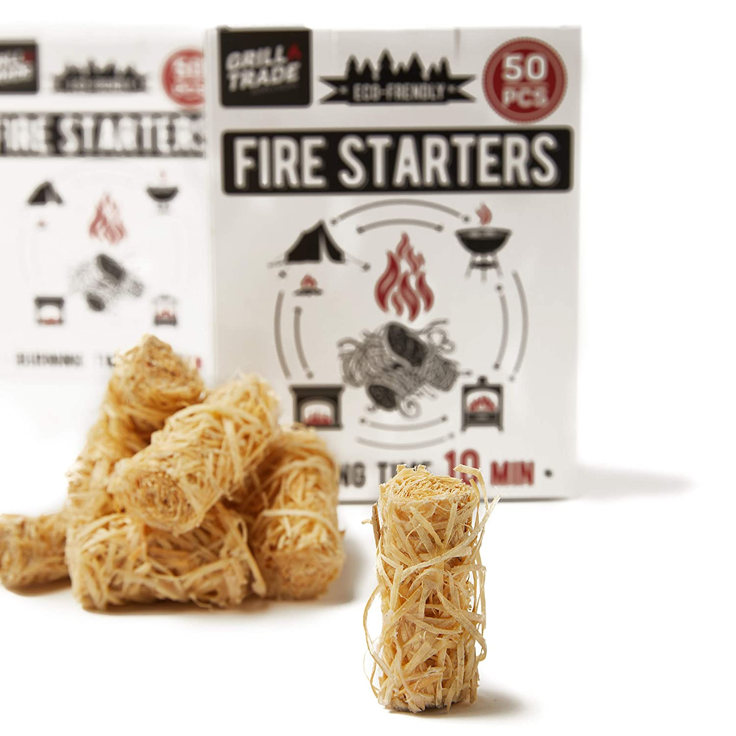 Charcoal Fire Starters (50 Count) for Webers Green Eggs Kamados And Other Grill Super Fast Lighting 100% All Natural Grill Trade