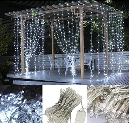LIIDA Curtain Lights LED Twinkle 98 X 98ft Cool White Icicle