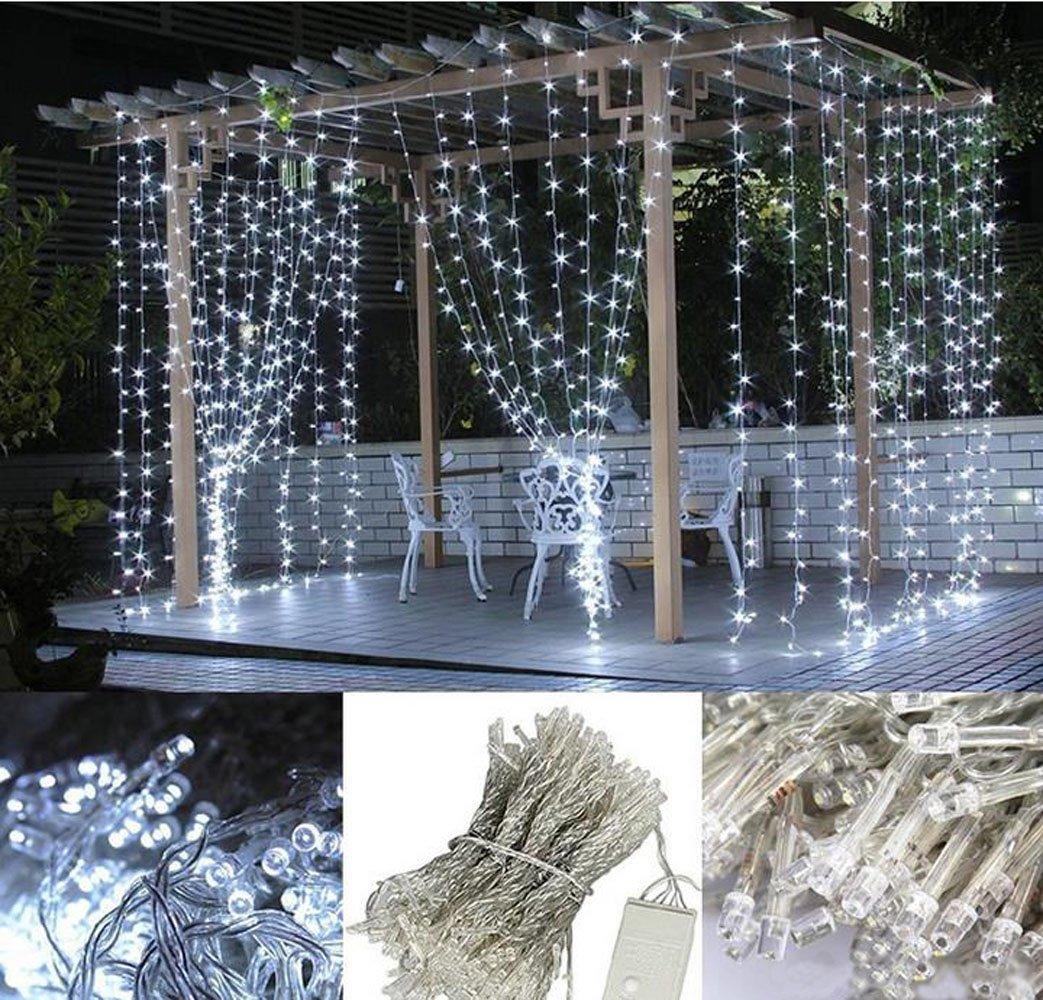 304 LED Curtain Lights 98 X Ft Warm White 8 Modes Outdoor Curtains With Waterproof Connector