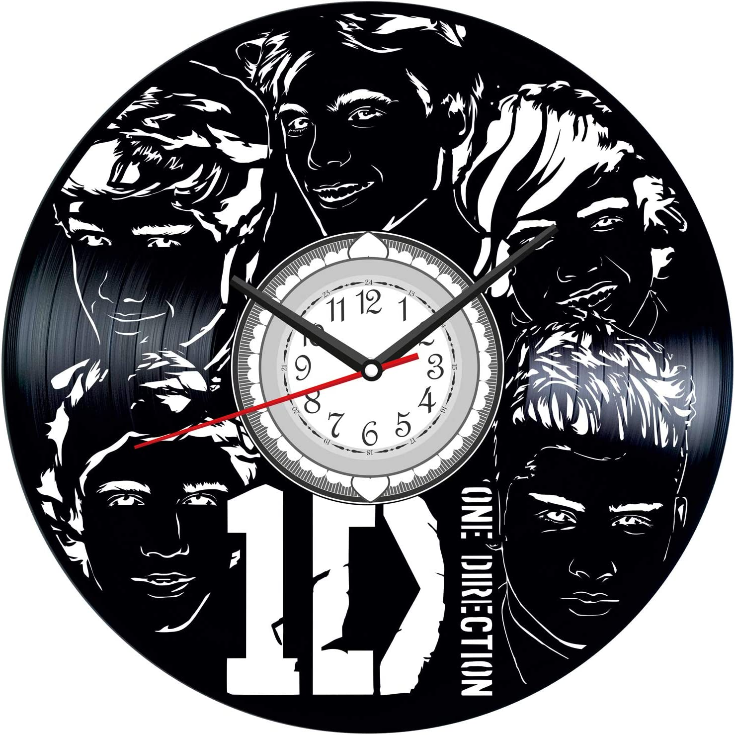 ONE Direction Vintage Vinyl Wall Clock Poster - Great Home Decor for Bedroom Kitchen Living Room Idea Birthday Christmas Anniversary for Him Her - Unique Wall Art - Size 12 Inches