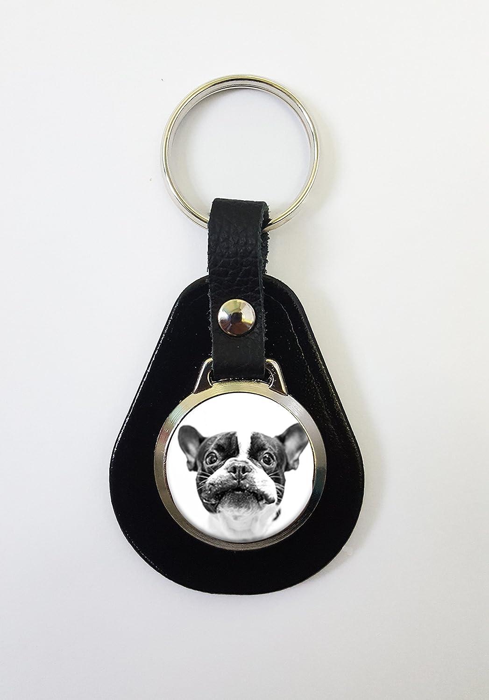 Llavero de piel con diseño de bulldog francés, ideal como ...