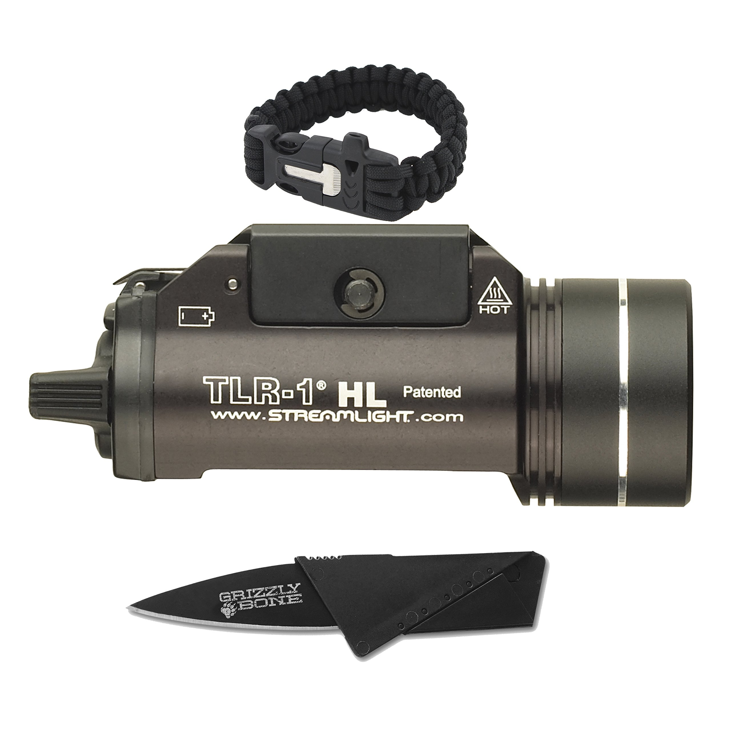 NEW Combo Pack Bright Streamlight TLR-1 HL-800 Lumens Tactical Ultimate Flashlight For Zombie Apocalypse Camping Power Outage Survival Kit W/ Free Paracord Bracelet & Credit Card Knife Survival Life