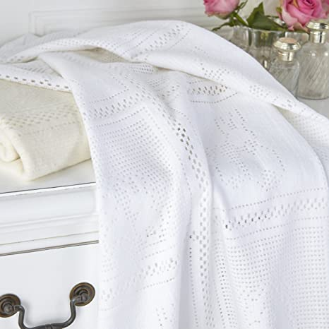 Brand new in pack Clair de lune brushed cotton bunny blanket in cream 75 x 100cm