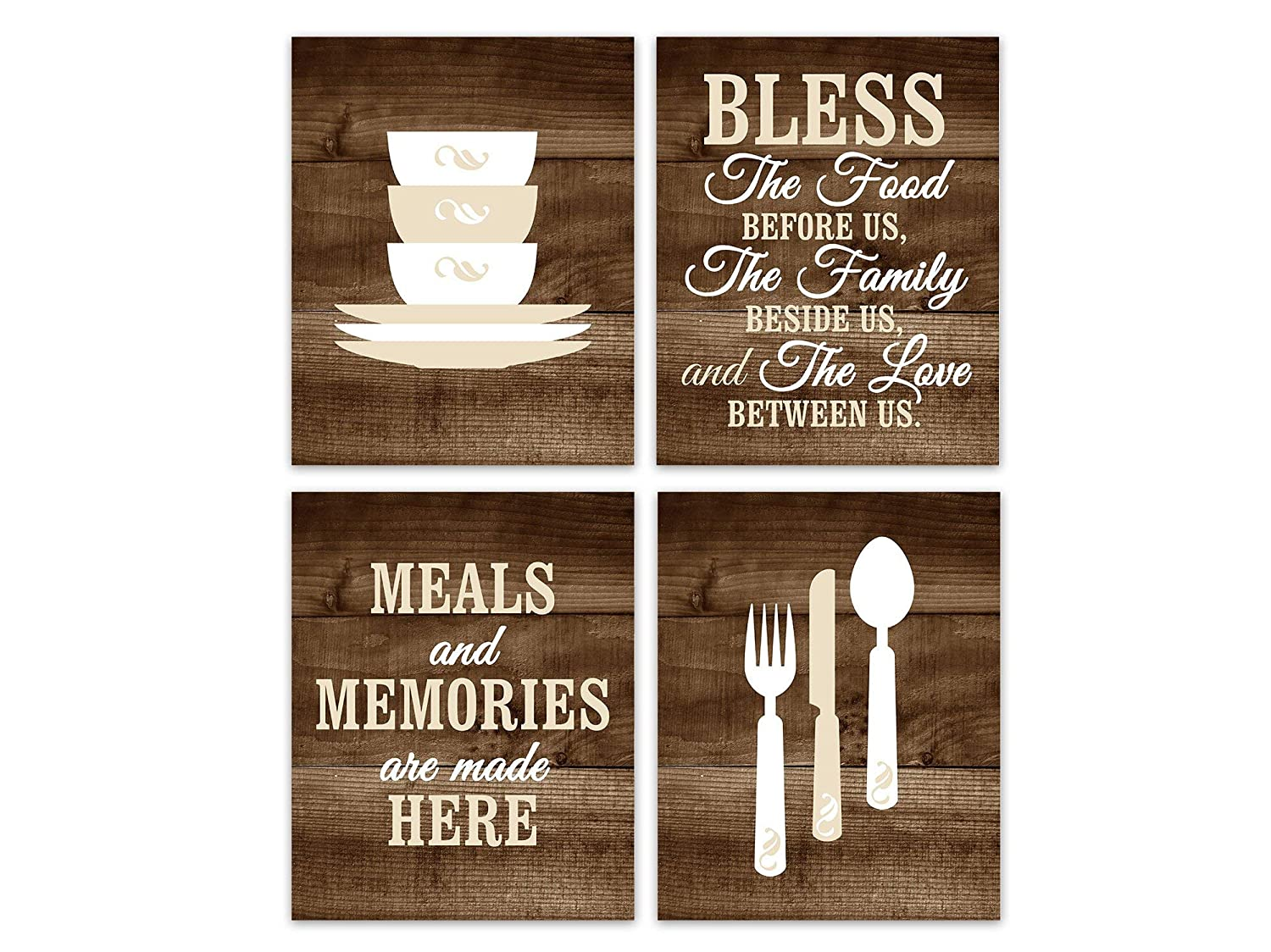 Barnett Duncan Meals and Memories are Made Here Bless The Food Before Us Sign Rustic Kitchen Wall Art Stacking Bowls Pictures Fork Spoon Art 8x10 inche