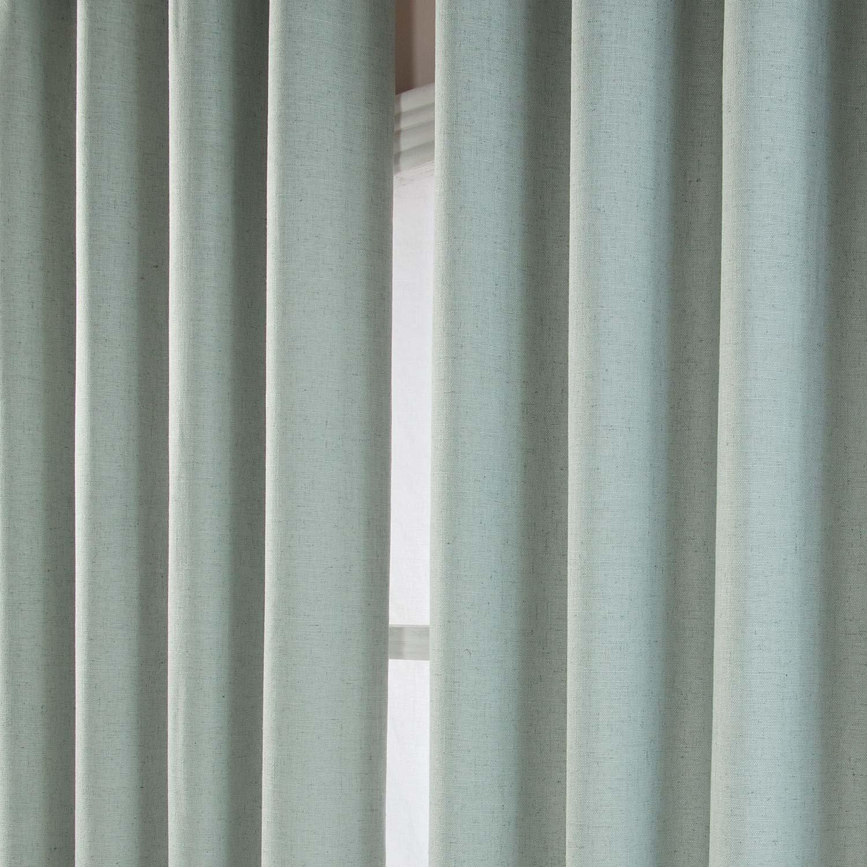Amazon.de: Homescapes Moderner Vorhang Leinenoptik blaugrün L 228 x ...