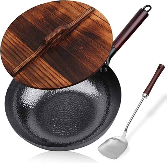 Details about  /Induction Base Stainless Steel Wok With Steel Lid 28 cm Dia Cooking Frying Kadai