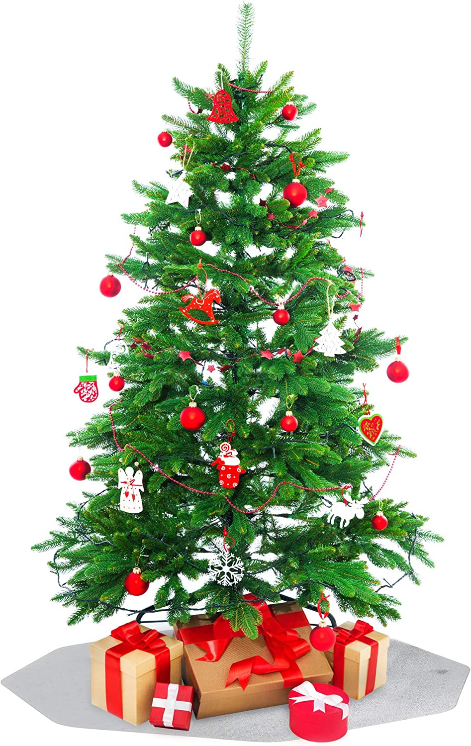 "Floortex Christmas Tree Mat Nine-Sided Clear 38"" x 39"" Hard Floor Protection"