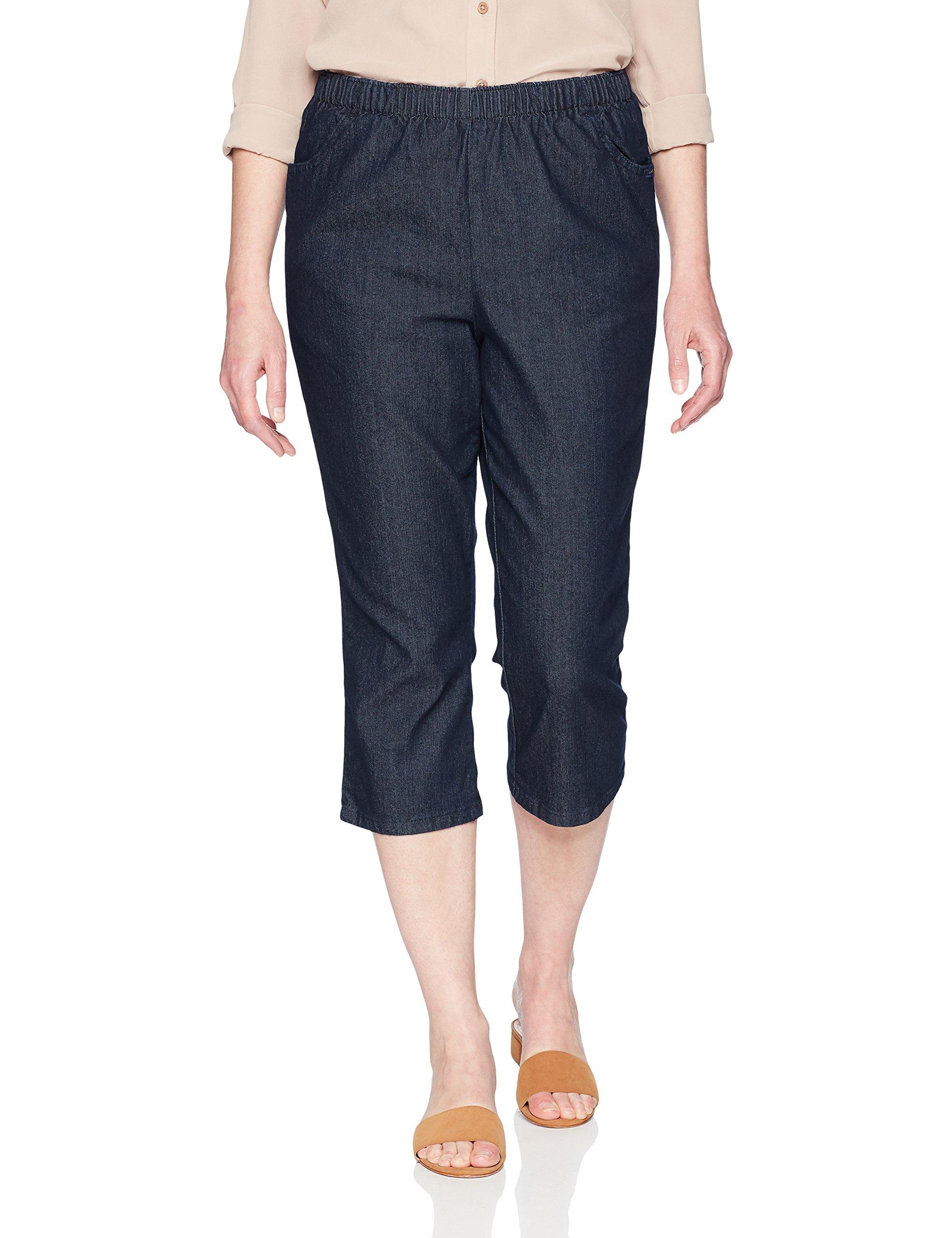 Chic Classic Collection Women's Plus Size Pull On Stretch Capri, Dark Shade, 22W