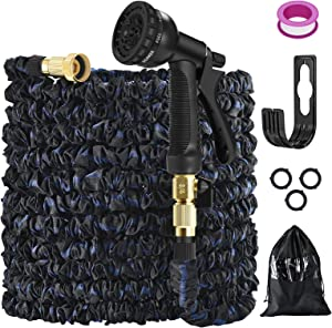 75ft Expandable Garden HosePipe,Expanding Magic Hose with 8 Function Spray Watering Gun/ Storage Bag/ Plastic Hanger/ Fashion Brass Fitting Leakproof Lightweight Flexible Garden Hose(75ft)