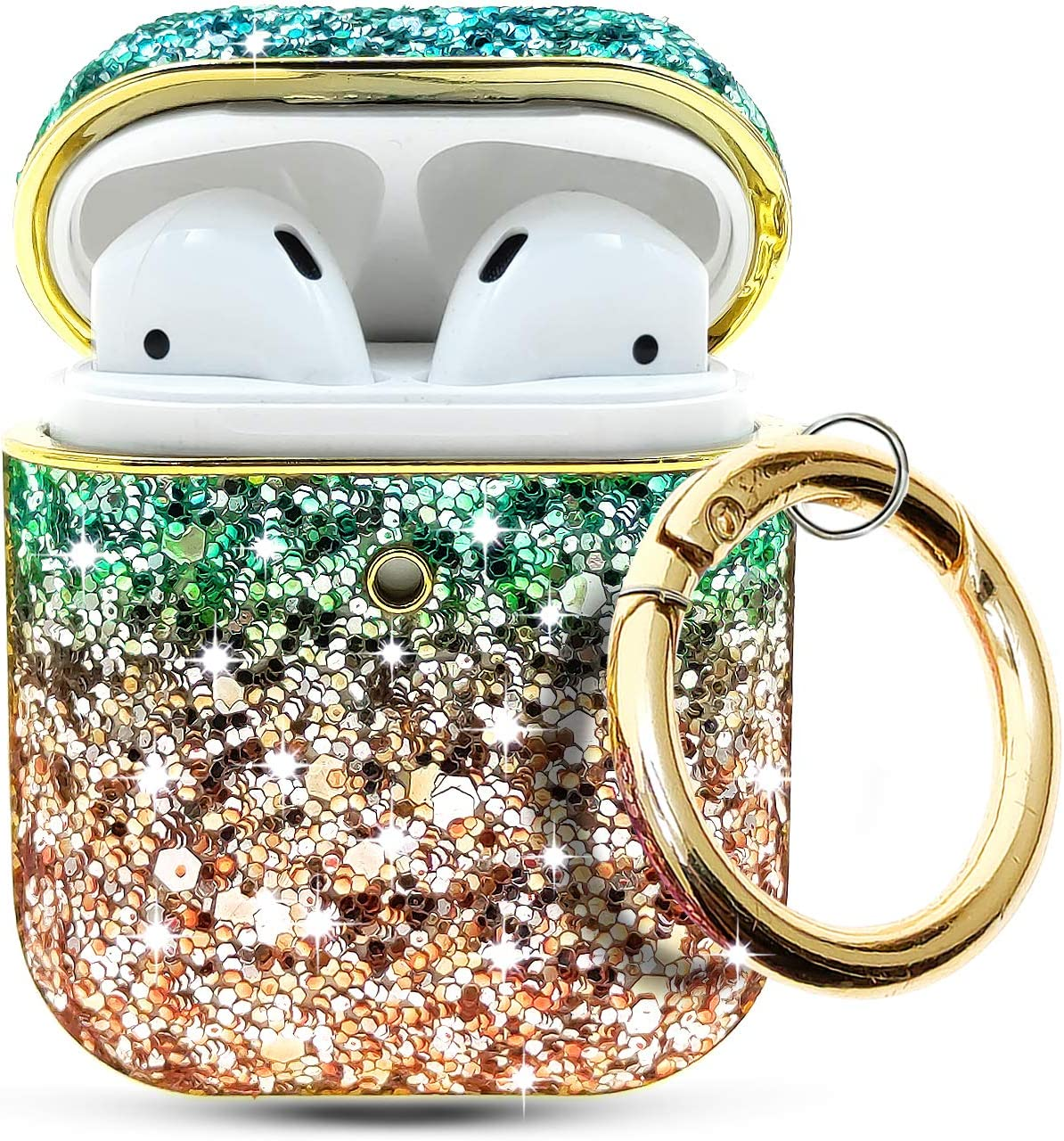 Hortory Luxury Rhinestone Airpods Case with Keychain and Glitter Neck Strap, Cute Bling Diamonds Leather Air Pod Cases Compatiable with Apple AirPods Case 1/2 (Golden)