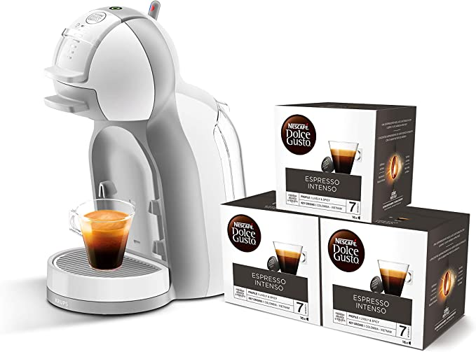 Pack Krups Dolce Gusto Mini Me KP1201 - Cafetera de cápsulas, 15 bares de presión, color blanco y gris + 3 packs de café Dolce Gusto Espresso Intenso: Amazon.es: Hogar