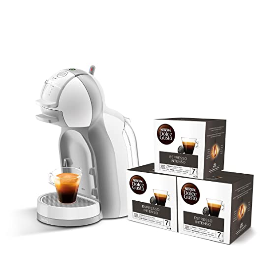 Pack Krups Dolce Gusto Mini Me KP1201 - Cafetera de cápsulas, 15 bares de presión, color blanco y gris + 3 packs de café Dolce Gusto Espresso Intenso