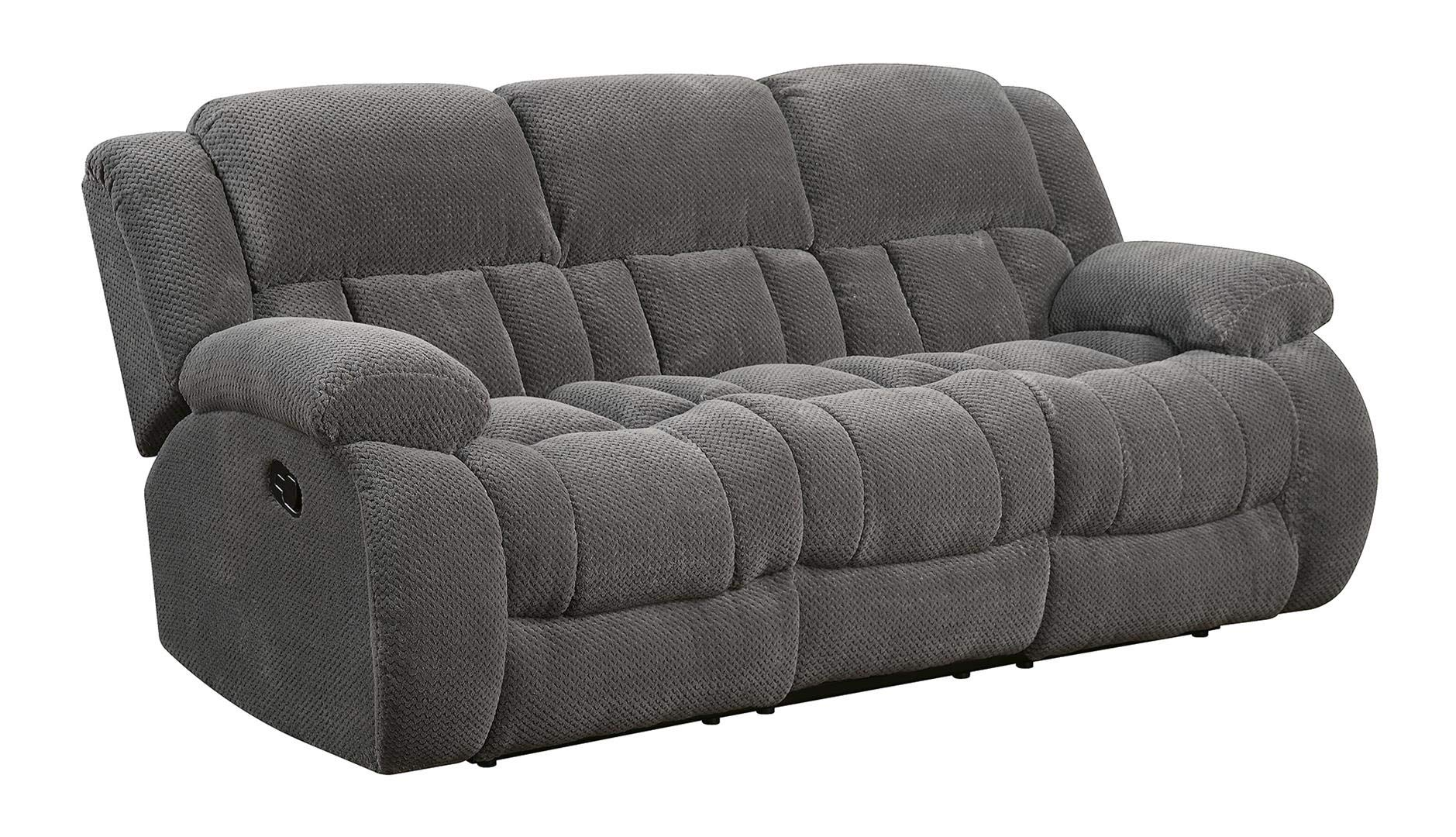 Coaster Home Furnishings Weissman Pillow Padded Motion Sofa Charcoal by Coaster Home Furnishings