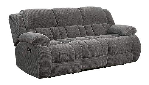 Coaster Home Furnishings Weissman Pillow Padded Motion Sofa Charcoal