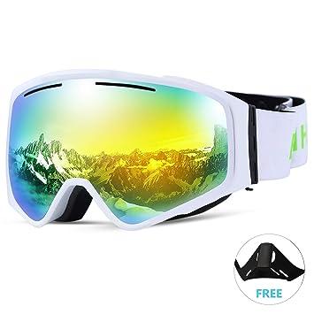 1c9b91db57 SunTime Gafas de Esquí Desmontable Antiniebla Anteojos para Esquiar Máscara  Deportivo Gafas de Protección UV Snowboard Nieve de Doble Capa Lente  Cilíndrica ...