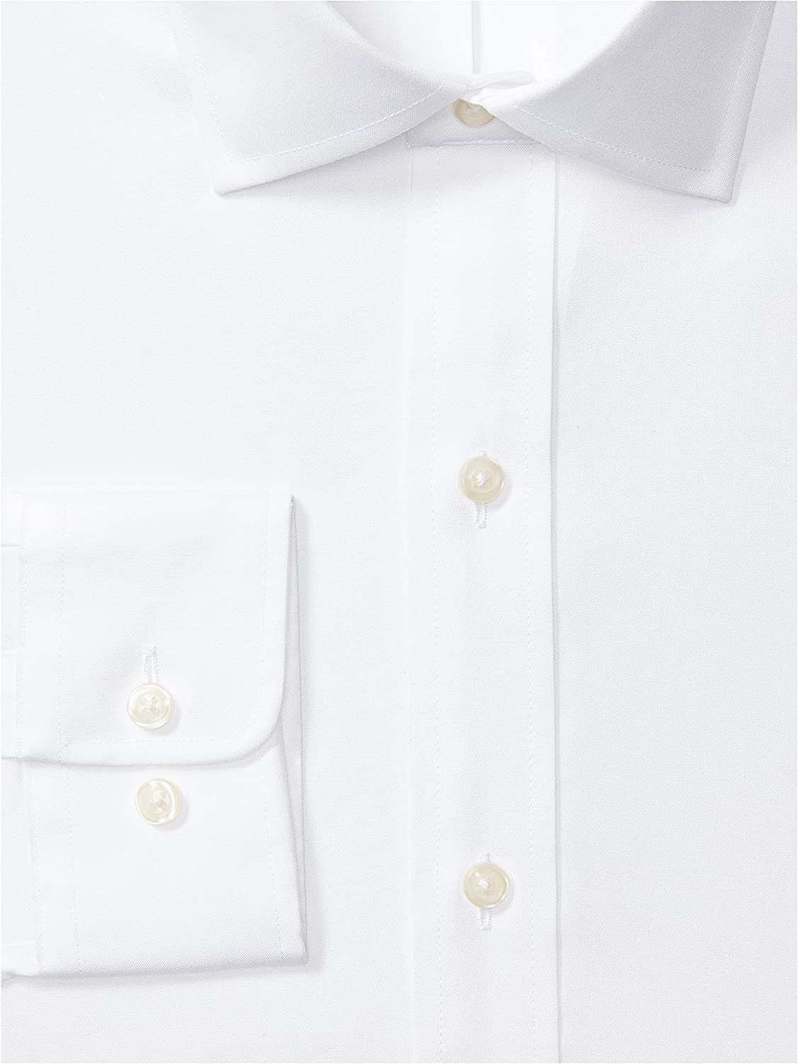 Amazon Brand - Buttoned Down Classic Fit Solid Pocket Options Dress Shirt White (White/No Pockets)
