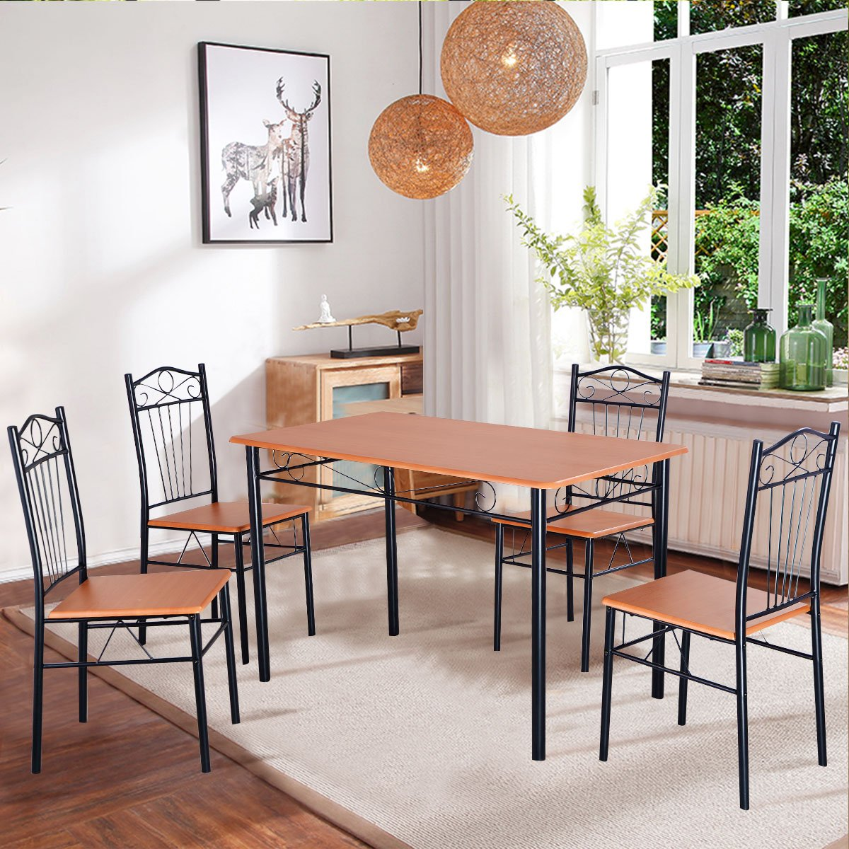 Amazon.com Tangkula Steel Frame Dining Set Table and Chairs Kitchen Modern Furniture Bistro Wood Home u0026 Kitchen & Amazon.com: Tangkula Steel Frame Dining Set Table and Chairs Kitchen ...