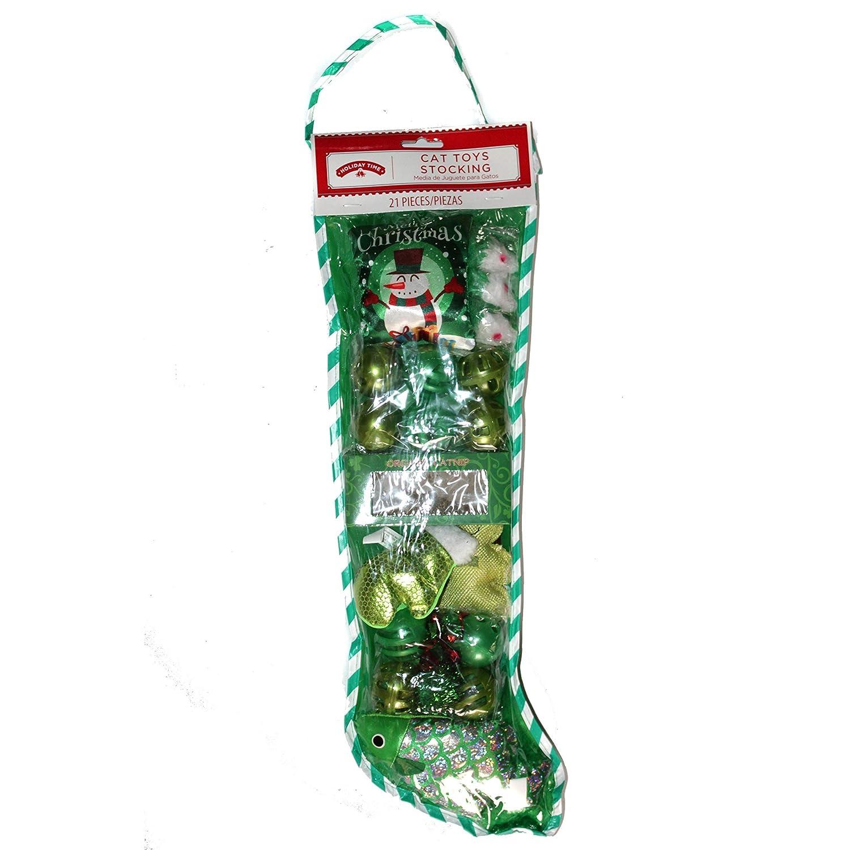 Amazon.com : Holiday Time 21pc Set Cat Toys Stocking - Catnip+Plush Toys+Balls+Teaser+Mice - Pet Gift - Green : Pet Supplies