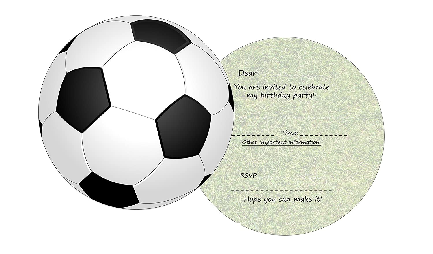 the lazy panda card company 11 Round Football Invites for Kids Birthday Party Invitations (With Matching Envelopes)