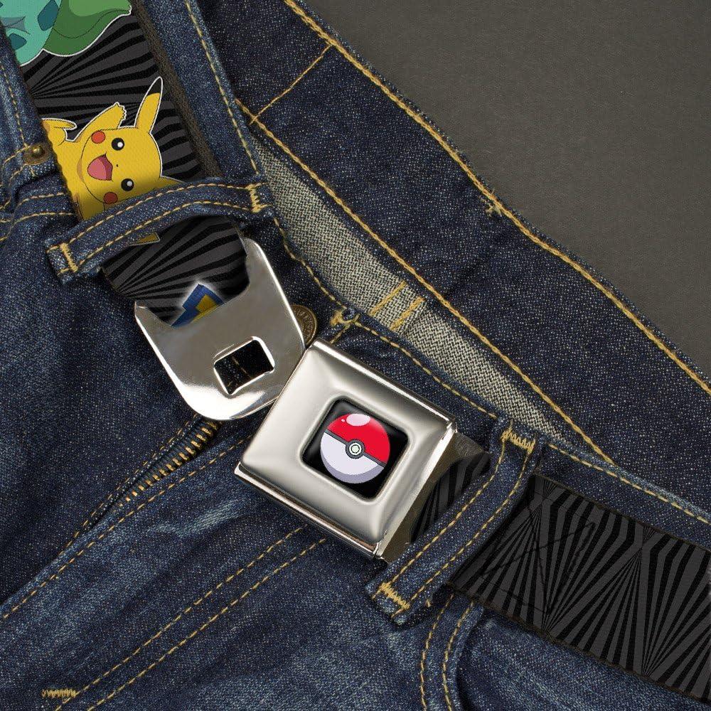 POKEMON//Kanto Starter Pokemon /& Pikachu Zebra Black//Gray 20-36 Inches in Length 1.0 Wide Buckle-Down Seatbelt Belt
