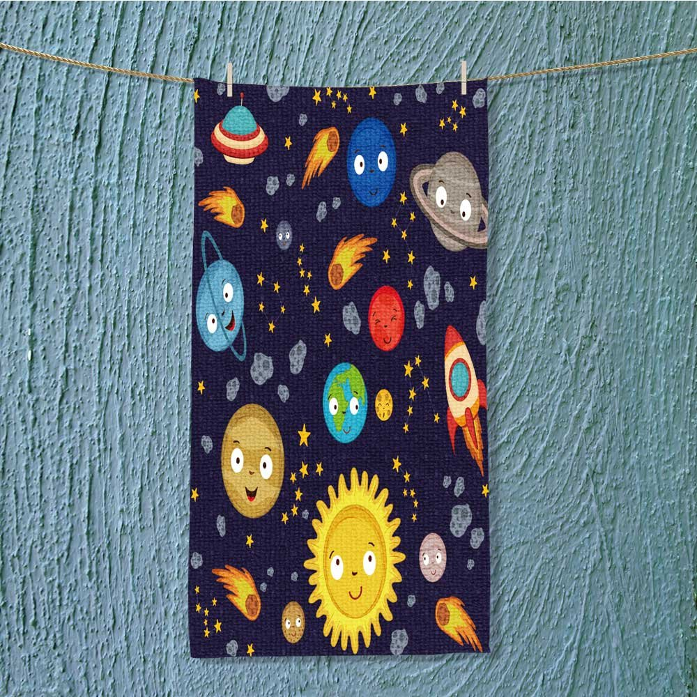 L-QN quick dry towel large seamless pattern cute solar system vector illustration eps Fluffy, and Absorbent, Premium Quality w13.8 x H27.5 INCH