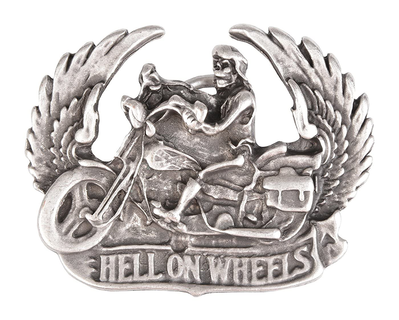 Biker Gü rtel-Schnalle Hell on wheels Gü rtelschließ e Wechsel-Schliesse Geburtstag-Geschenk Accessoire 7, 7 x 6, 2 cm 40 mm