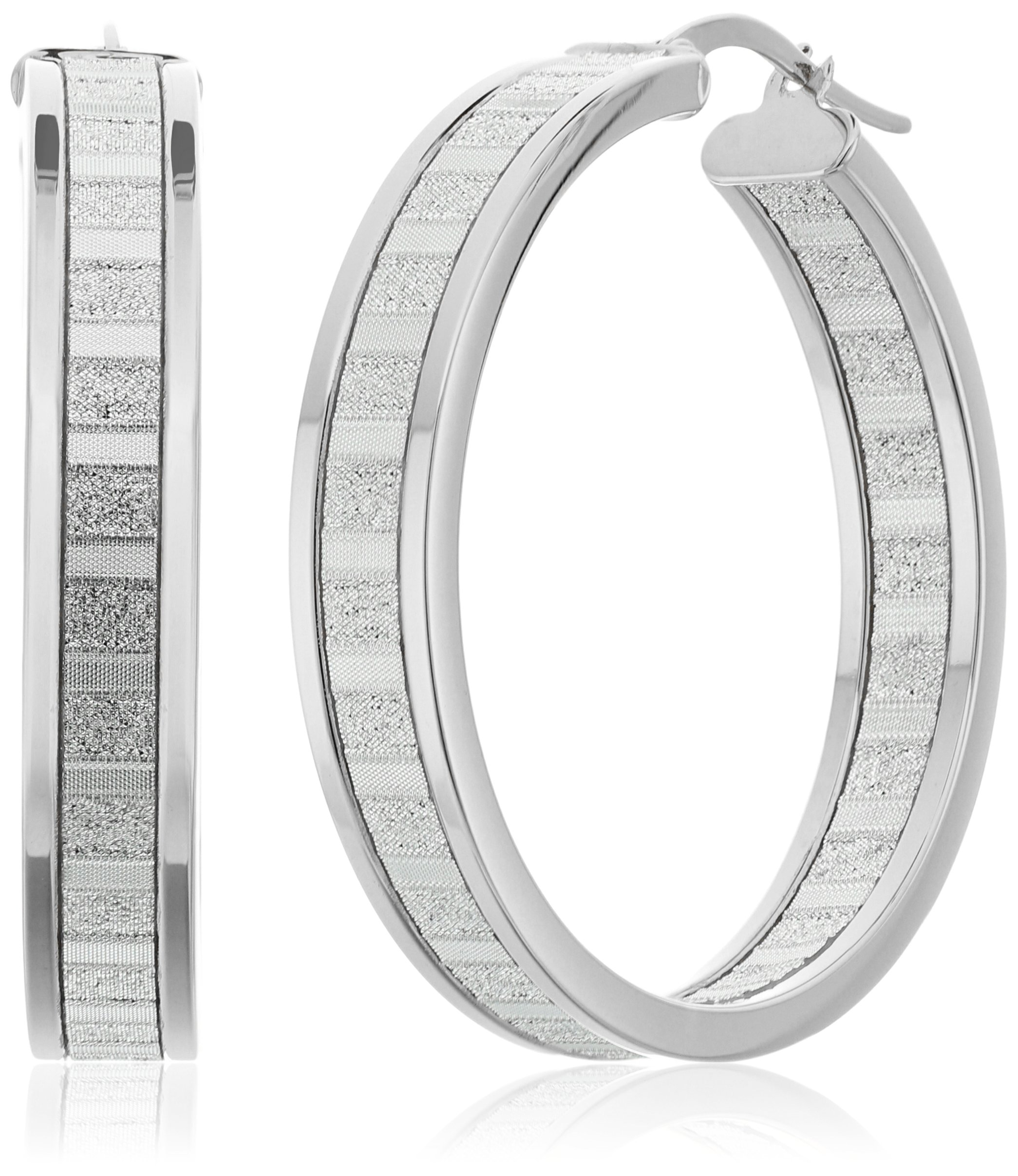 14k White Gold Italian 30 mm Wide Hoop Earrings with Baguette Style Glitter Hoop Earrings