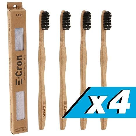 4 x Cepillo de dientes de bambú E-Cron con un mango respetuoso con el
