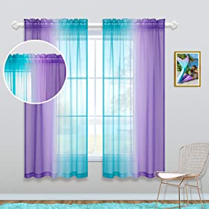 Ombre Design 2 Teal Purple Curtains 63 Inch Length for Girls Room Decor Set 2 Panel Pocket Window Sheer Cute Princess Curtains for Kids Bedroom Decor Teen Little Baby Nursery Christmas Lilac Turquoise