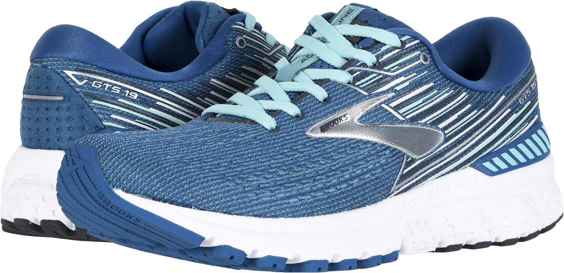 Brooks Women's Adrenaline GTS 19 Blue/Aqua/Ebony 5 B US by Brooks (Image #1)