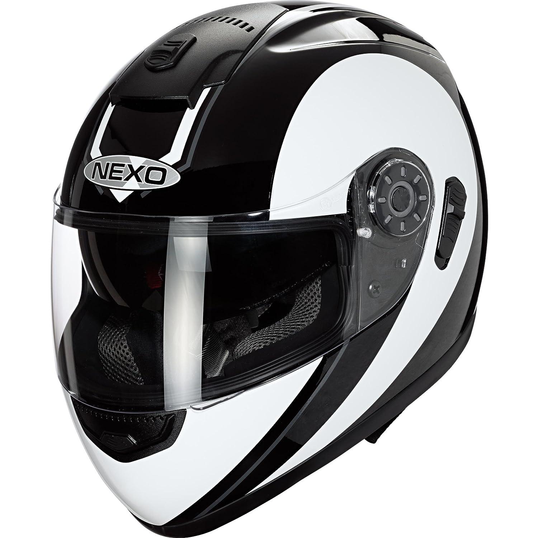 Integralhelm Travel Vollvisierhelm Ratschenverschluss integrierte Sonnenblende Wangenpolster komplett herausnehmbar und waschbar mehrfache Be- und Entl/üftung Nexo Motorradhelm XS-XL