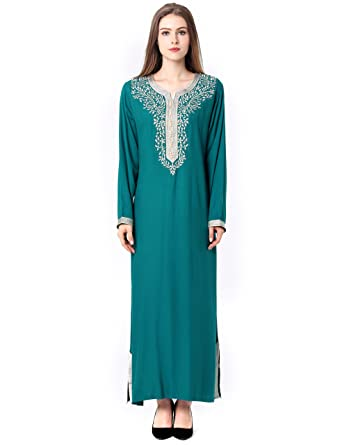 Amazon.com  Muslim Dress Dubai Kaftan Women Long Sleeve Arabic Long Dress  Abaya Islamic Clothing Girls Jalabiya Caftan  Clothing 30ccc2dfe