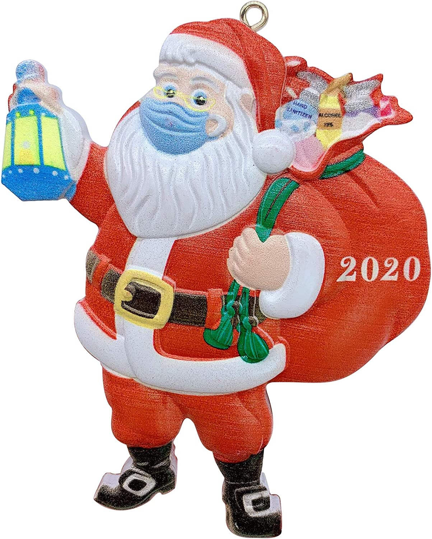 2020 Santa Claus Ornaments, Santa Wear Face Ma-sk Santa Strap Hanging Decor Figurine Quarantine Christmas Tree Decoration Pendant(1pcs)