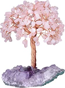 mookaitedecor Natural Rose Quartz Crystal Tree with Amethyst Cluster Crystal Base Money Tree Figurines Feng Shui Desk Decoration, Meditation Table Altar Decor