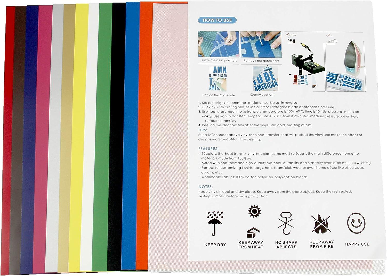 RVL HTV - Vinilo de transferencia de calor, 12 hojas de colores surtidos: Amazon.es: Juguetes y juegos