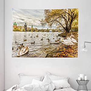 "Ambesonne Landscape Tapestry, Prague Charles Bridge Old Town Czech Republic Riverside Scenic View with Swans, Wide Wall Hanging for Bedroom Living Room Dorm, 80"" X 60"", Marigold Brown"