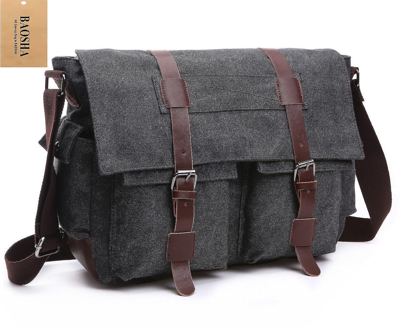 ... Men s Canvas Leather Messenger Bag Casual Cross Body Travel Shoulder  Bags Satchel School Laptop Bag for 15 inch Laptop (Black)  Amazon.co.uk   Clothing 8f44d1a6a72b4