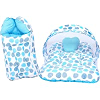Baby Fly Baby Mattress with Mosquito Net and Sleeping Bag Combo (0-8 Months, Multicolour)