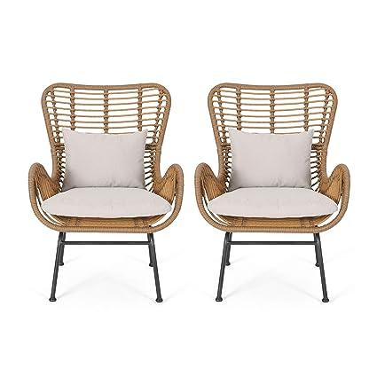 Amazon.com: Gloria Indoor Wicker Club Chairs with Cushions ...