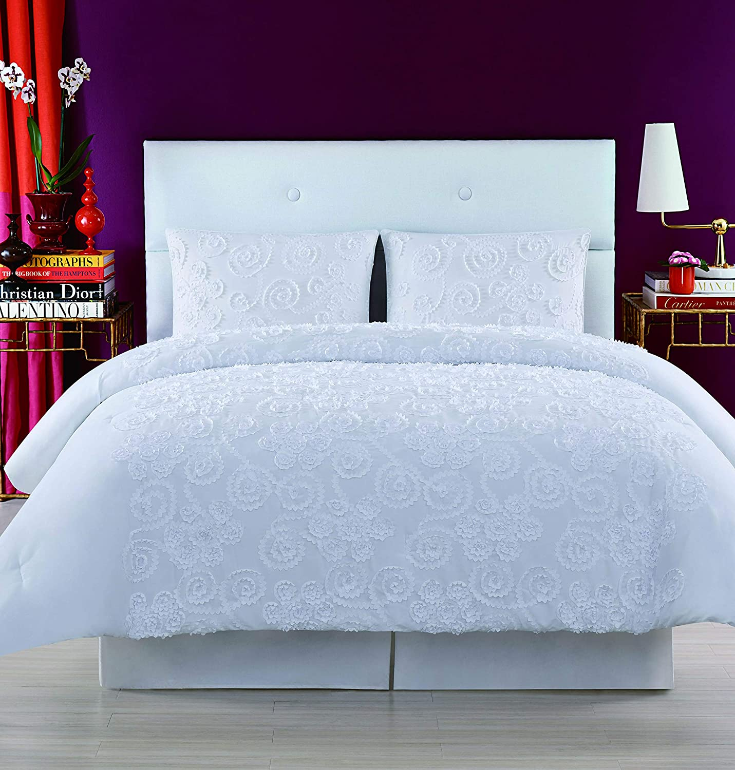 Christian Siriano Pretty Petals Full/Queen Duvet Cover Set, White