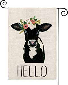 AVOIN Hello Cow Garden Flag Vertical Double Sided, Flower Farmhouse Flag Yard Outdoor Decoration 12.5 x 18 Inch