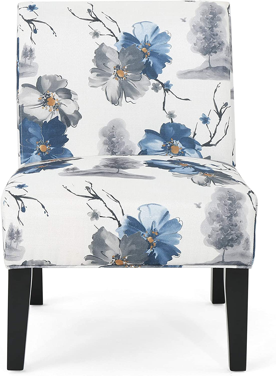 Christopher Knight Home Kendal Traditional Fabric Accent Chair, Print, Matte Black: Furniture & Decor