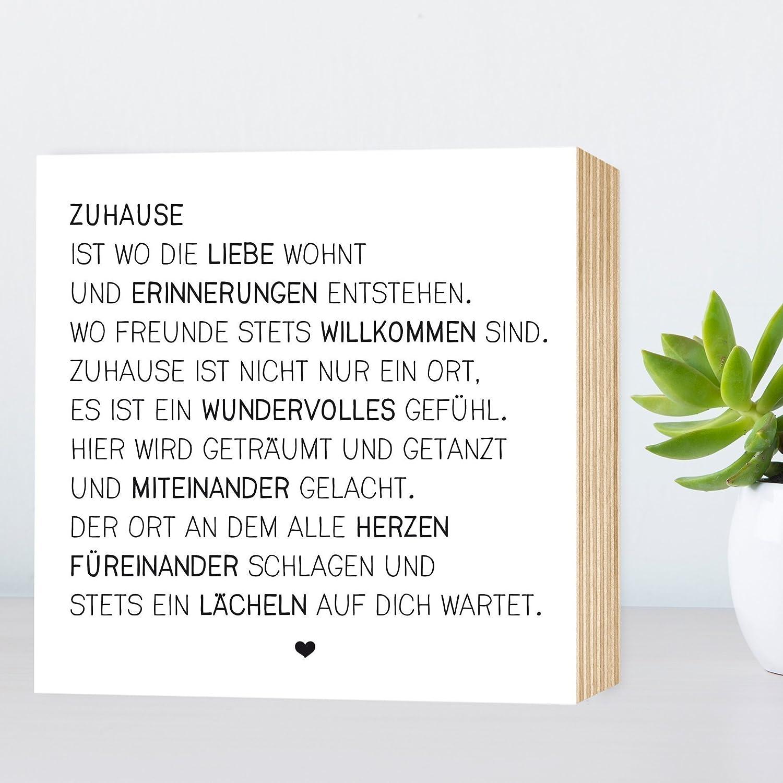 Zuhause   Einzigartiges Holzbild 15x15x2cm Zum Hinstellen Und Aufhängen,  Echter Fotodruck Mit Spruch Auf Holz   Schwarz Weißes Wand Bild Aufsteller  ...