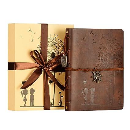 Scrapbook Firbon Handmade DIY Family Album with Bonus Gift Box for Christmas Black Birthday and Homecoming Valentines Day