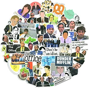 The Office Stickers Pack of 50 Stickers - The Office Stickers for Laptops, The Office tv Show Merchandise Stickers, Funny Vinyl Sticker for Laptop Hydro Flask Water Bottles Phone Case