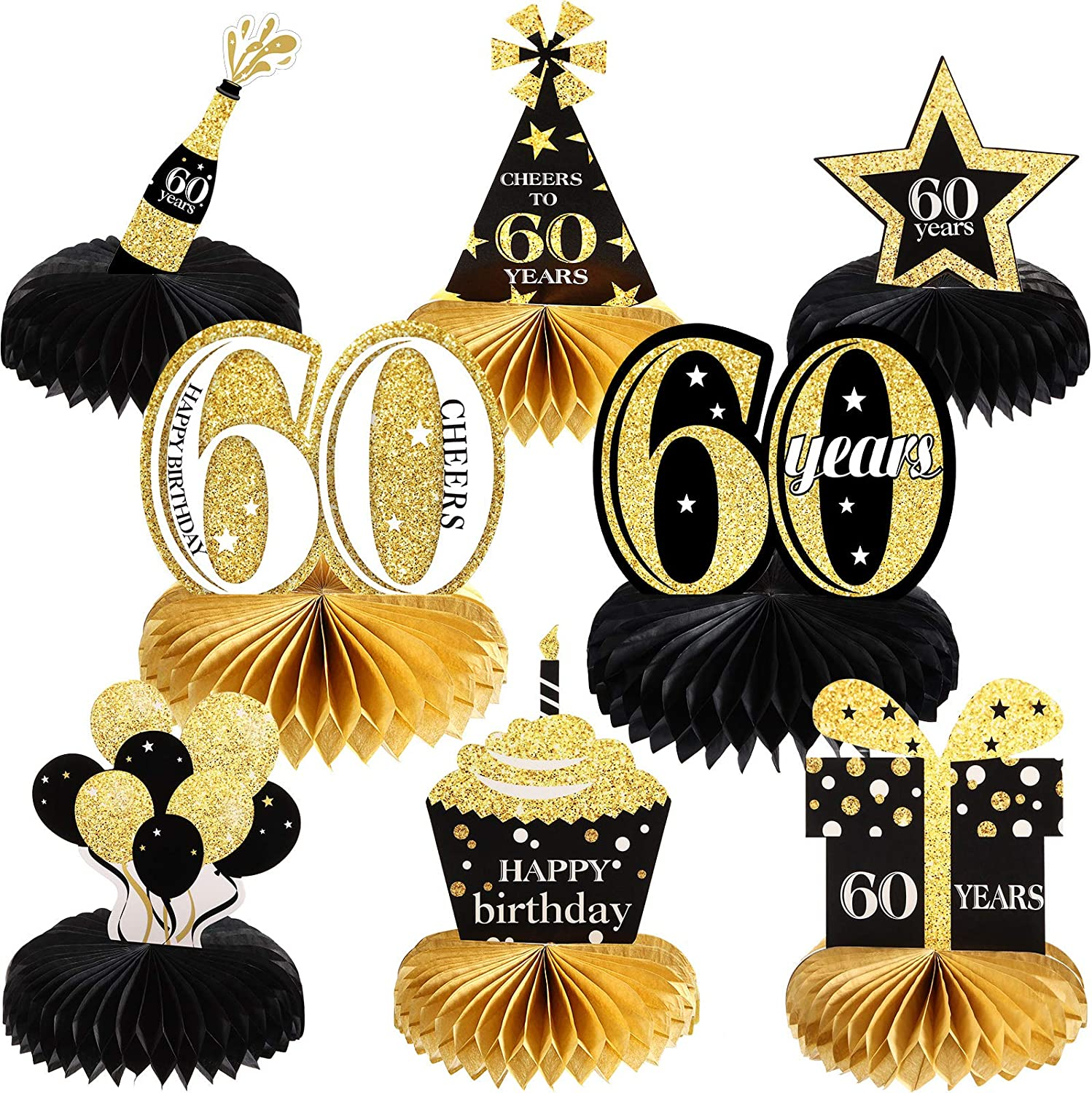 8 Pieces 60th Birthday Honeycomb Table Centerpieces Happy 60th Birthday Decorations Cheers to 60 Years Table Toppers for Sixty Years Birthday Party Favors