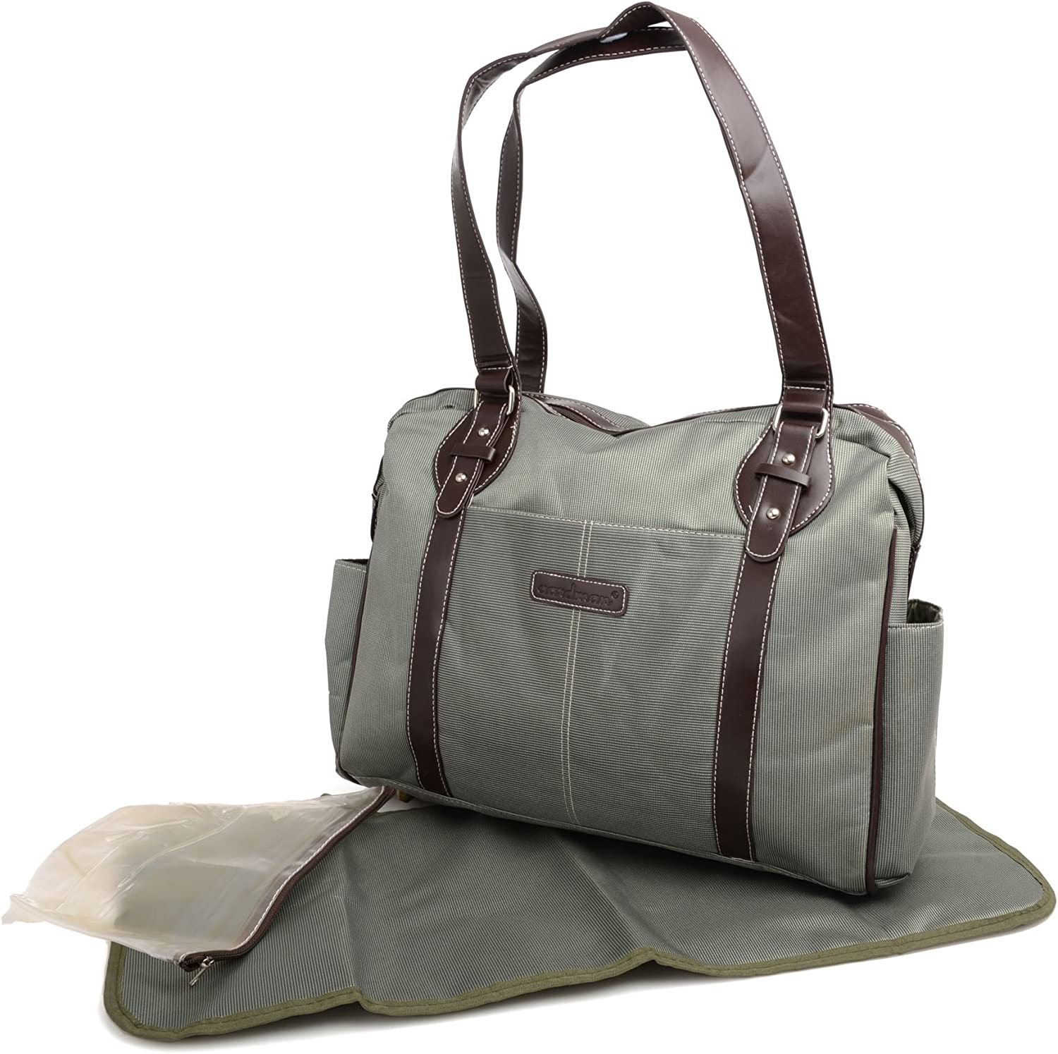 High quality fabric Oxford Green 3pcs Chic Nappy Diaper Changing Bag set with Leather straps
